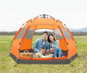 5-6 Person Dual Layers Anti Heavy Rain Sun Proof 6 Corners Camping AutomaticTent