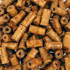 50 X BROWN PRINTED PATTERN TUBE WOOD BEADS 22mm x 9mm = W0083