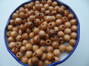 60 Stück 8 mm Olivenholzperlen Holz Perlen aus Olivenholz lackiert Rundperlen