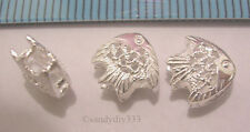 4x BRIGHT STERLING SILVER FILIGREE FISH SPACER / CONNECTOR BEAD  8mm #301