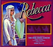 Placentia Rebecca Rebekah Bible Story Orange Citrus Fruit Crate Label Art Print