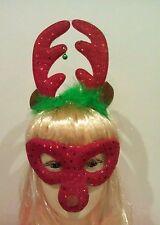 Christmas reindeer headband with bells and reindeer face mask