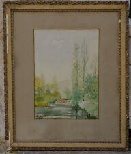 Aquarelle 1899 J. Guenet rivière