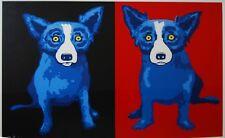 George Rodrigue Blue Dog Half N Half Black Red Silkscreen Print Signed Artwork