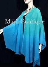 Hand Dyed Maya Matazaro Silk Chiffon Cape Ruana Caftan Wrap Aqua Blue Ombre