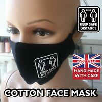 Reusable Black Cotton Face mask  Fashion keep distance made in UK FACE COVER