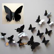 SET 12 FARFALLE ADESIVE NERE  IN PVC EFFETTO 3D DA MURO PARETE DECORAZIONE CASA