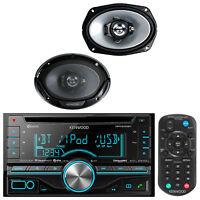 "2Din Kenwood Bluetooth iPod CD USB Radio, 2 Kenwood 6x9"" 400W 3Way Speaker Set"