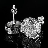 18K White Gold Bling Out Iced AAA Lab Diamond Micropave Round Stud Earring 12S