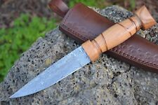 "HUNTEX Handmade Damascus 10"" Long Olive Wood Bush Craft Hunting Skinning Knife"