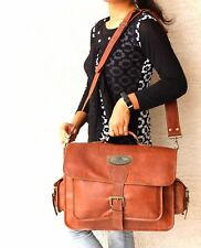 "18"" Men's Leather Messenger Vintage Leather Laptop Satchel Bag Gift For Husband"