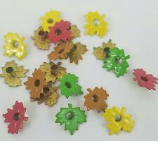 Maple Leaf Scrapbooking Eyelets Set of 20 Autumn 4 Fall Colors Hand Made Cards