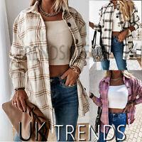 UK Womens Check Fleece Casual Jacket Shacket Top Shirt Coat Tunic Oversize Baggy