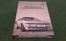 Oct 1985 MITSUBISHI PRICE LIST SPECIFICATION BROCHURE Starion Shogun L300 Lancer