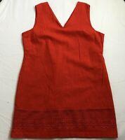 "Red Linen Blend Lined Dress UK 20 Lace Detail Length 36"""