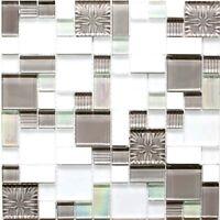 Glas-/Natursteinmosaik mix Kombination weiß/grau Küche Art:88-MC659 | 10 Matten
