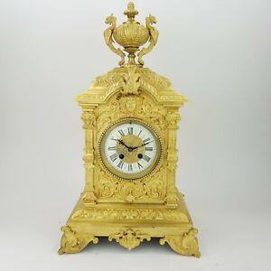 Napoleon III Bronze feuervergoldet Pendule Kaminuhr clock Empire Cartel gold