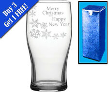 Novelty Engraved Pint Glass Merry Christmas And A Happy New Year Gift SnowFlake