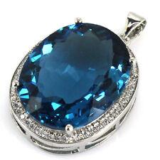 25x20mm Big Gemstone Oval 22x18mm London Blue Topaz, CZ Woman's Silver Pendant