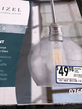 New Quoizel Soho 6.87-in Brushed Nickel Industrial Mini Clear Glass Bowl Pendant