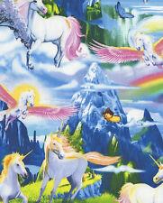 Fat Quarter Unicorns Pegasus Rainbow Fantasy Cotton Quilting Sewing Fabric