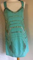 Uttam Boutique Green Sequin gatsby flapper Charleston 1930's inspired Dress 14