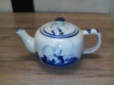 gut erhaltene Teekanne,Keramik Teekanne,Teekanne mit Windmühlenmotiv