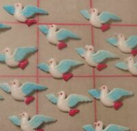 100 Vintage Hand Painted Celluloid Flying Blue Bird of Happiness Japan 10 x 20mm