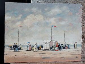 TABLEAU ancien 1950 signé Peinture huile Marine port plage mer Océan Atlantique