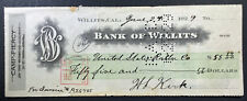 Camp Piercy, CA -  Bank of Willits - Antique Check - 1922