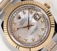 Rolex Men Datejust II 41mm Oyster 116333 18k TT White MOP String Diamond Dial