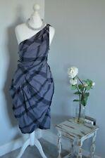 ALLSAINTS Grey cotton check tartan one shoulder ruched dress XS 6 punk rock