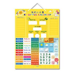 Kids Calendar Magnetic Board Learning Toy Date Season Teaching Aid Home
