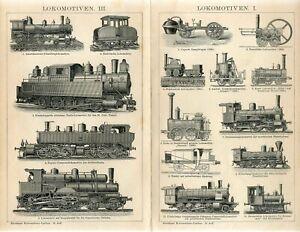 1895 OLD RAILWAY LOCOMOTIVES ENGINES Antique Engraving Print