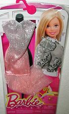 Barbie Fashion Outfit Pink / Silver glittered Gown  w Accessories  NEW in Pkg
