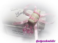 Gastgeschenke Kartonage Truhe Taufe Tischdeko Fläschchen Schnuller rosa