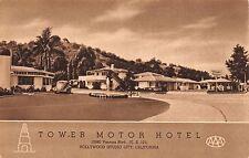 Postcard Tower Motor Hotel in Hollywood, California~111956
