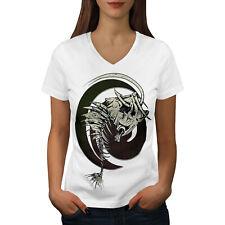 Wellcoda Fish Bone Skeleton Womens V-Neck T-shirt, Tattoo Graphic Design Tee