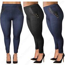 Talla Grande para Mujer Cintura Alta Piel Sintética Bolsillos Leggings Dama