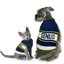Genius Blue Striped Pet Dog Sweater Size Medium M