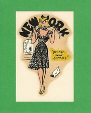 """VINTAGE ORIGINAL 1950 CUTIE """"STOCKS AND BLONDES"""" MISS NEW YORK  PINUP DECAL ART"""