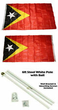 3x5 East Timor Leste 2ply Flag White Pole Kit Gold Ball Top 3'x5'