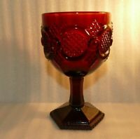 "Vintage Avon 1876 Cape Cod Ruby Red Glass Wine/Water Goblets 6"" tall VGC"