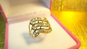 22ct AsianYellow Gold Created triple Line White CubicZirconia Cluster LadiesRing