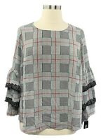 ALFANI 2X black plaid woven layered sleeve crew neck blouse w/lace trim