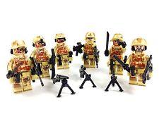 Custom Minifigures 6x Army DESERT COMMANDO Swat Squad & Weapon Bundle fit Lego