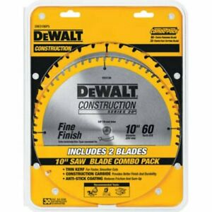 DEWALT 10 Inch Miter Table Saw Blades 60 Tooth Crosscutting 32 Tooth General