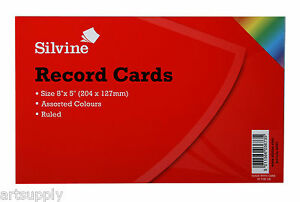 Revision/Flash/Index Silvine Record Cards - Coloured/Ruled Pack of 100 - 2 Sizes