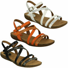 Buckle Leather Strappy Sandals & Flip Flops for Women