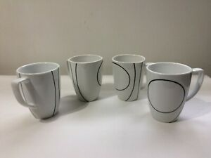Corelle Coordinates Set of 4 Coffee Cups SIMPLE LINES Black and White